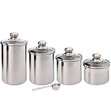 SilverOnyx Canister Set Stainless Steel - Beautiful Canister Sets for Kitchen Counter, 4-Piece Small Size with Glass Lids and 20 ml Measuring Scoop - Tea Coffee Sugar Canisters - 4pc Glass Lids