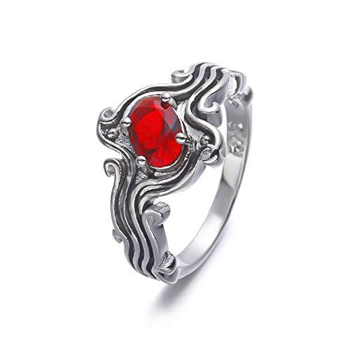 Joyería práctica de moda estilo onda diamante azul rojo cortacésped joyería nupcial (ninguno 6 rojo 6)
