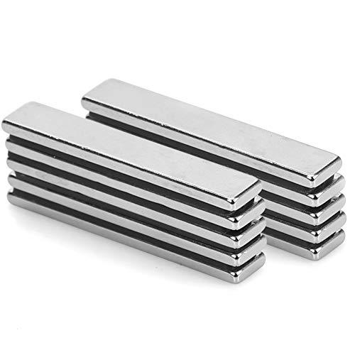 Neodym Magnete 10 Stück Starker Magnetstreifen,Viereckig Ziegel Magnete 60 x 10 x 4 MM,N52 Seltenerdmagnete für Glas-Magnetboards, Magnettafeln