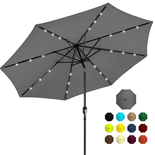 Best Choice Products 10ft Solar Powered Aluminum Polyester LED Lighted Patio Umbrella w/Tilt Adjustment and Fade-Resistant Fabric, Gray