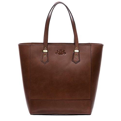 SID & VAIN Shopper echt Sattel-Leder Trish groß Henkeltasche Handtasche groß Ledertasche Damen braun