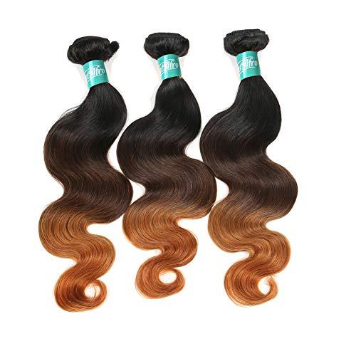 Hmtafro Ombre Cheveux brésiliens 9 A Grade Corps Wave et fermeture (# 1b # 4 # 30)