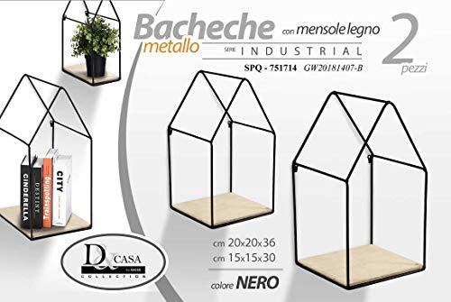 Gicos Set 2 mensole bacheca in Metallo Nero Forma casetta con Ripiani in Legno Shabby Chic 20 * 20 * 36/15 * 15 * 30 cm SPQ-751714
