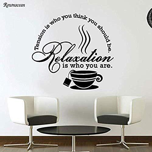 Muurstickers Thee Koffie Keuken Kunst Citaten Muurstickers Vinyl Moderne Home Decoratie Kamer Muursticker Tegel Lijm Verwijderbare muurschildering 63x57cm