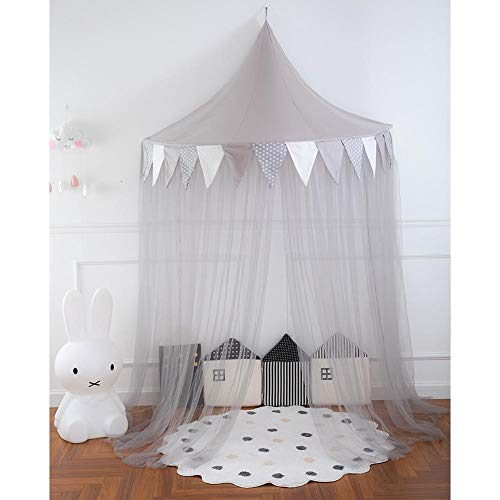 Children's Bed Tent Reading Corner Layout Baby Crib Netting Mosquito Net Hanging Half Moon Game House Bed Canopy for Girls Boys (Color : Gray)