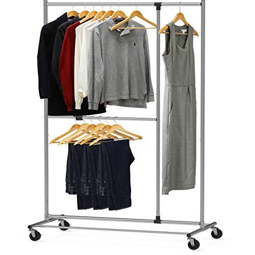 SimpleHouseware Dual Bar Adjustable Garment Rack, Chrome, 72-inch Height