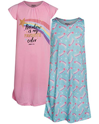 Limited Too Girls Nightgown Summer Pajamas (2 Pack), Spearmint Rainbow, Size 7-8