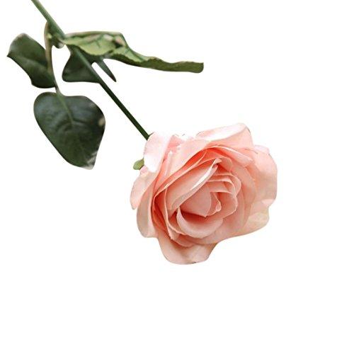 Coloré(TM) Fleurs artificielles Faux fleurs artificielles Roses Floral Bouquet de mariage Party Home Decor (Rose)