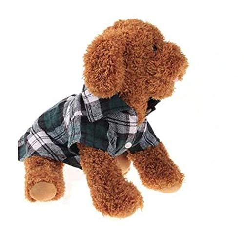 DACHENGJIN Ropa de Verano Ropa para Perros Mascotas para Perros pequeños Moda algodón Gato Perro a Cuadros Camisa, Tamaño: M (Verde) (Color : Green)