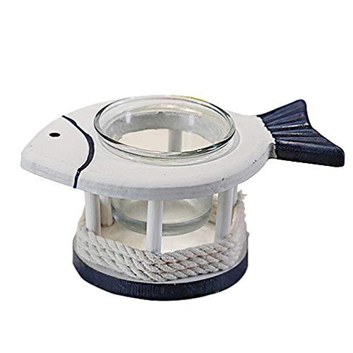 VALICLUD Portacandele Tealight Candeliere Tazza Decorativo Pesce Mediterraneo Supporto Nautico Candela Votiva per Soggiorno Camera da Letto Giardino