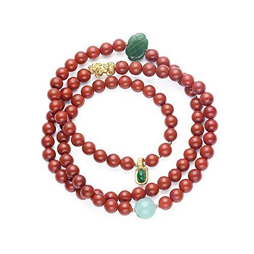 Oro puro 18K hecho a mano serie Sichuan material sur ágata roja tres círculos pulsera 999 mil oro puro valiente material antiguo jaspe nudo chino