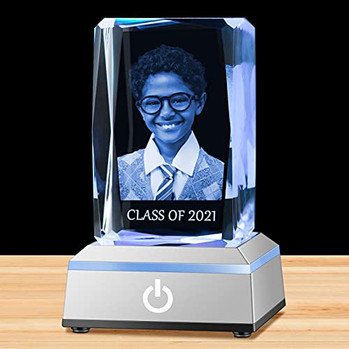 IFOLAINA 3D Photo Crystal Personalized in Glass Laser Etched Picture Rectangle Engraved Cube with Light as Gift and Souvenir for Women Men Girl Boy Birthday Wedding - Small Vertical