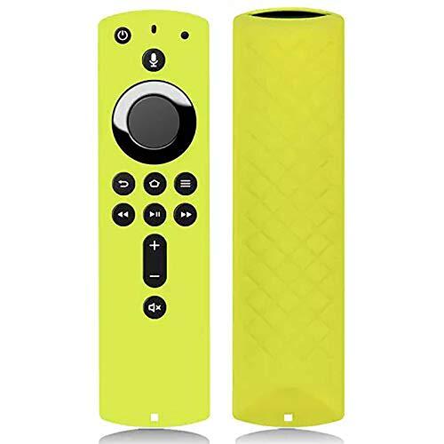 Ellenne  Custodia Silicone Cover Telecomando Protettiva per Amazon Fire TV 4K Alexa (Giallo)