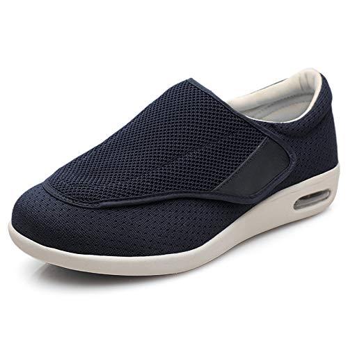 GUIOB Zapatos para Diabéticos Hombres Zapatos Cómodos para Caminar para Ancianos Ajustables Zapatillas de Aire Libre Transpirables Air Cushion,para El Edema Ortopédico,Blue-EU46