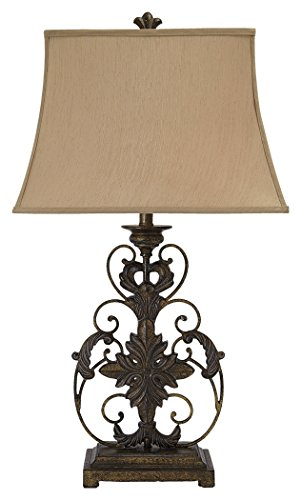 Ashley Furniture Signature Design - Sallee Ceramic and Metal Ornate Table Lamp - Gold Finish
