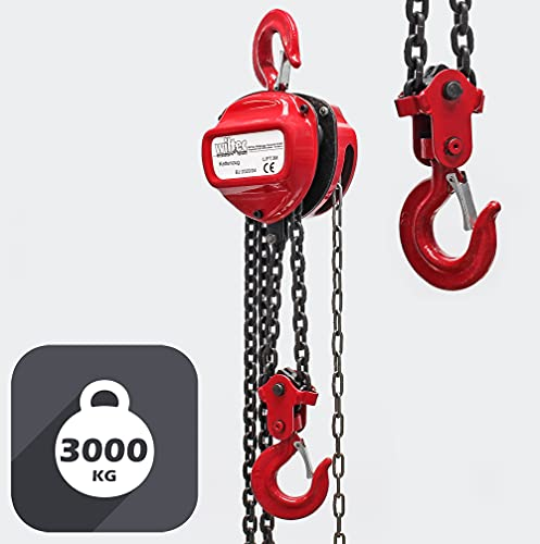 Polipasto manual de cadena 3000kg con cadena 3m y altura de elevación de 3m, para levantar cargas