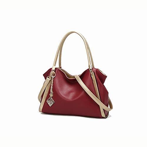 Ai-yixi Diseño clásico para mujer, piel flácida, portátil, a la moda, bolso grande, perfecto salvaje (color rojo, tamaño: 36 x 15 x 25 cm)