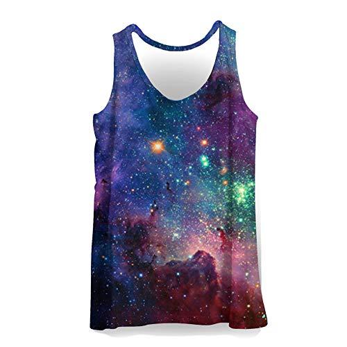 Hiser 3D Drucken Herren Tank Top Sommer, Sport Muskelshirt Ärmellos T Shirt Fitness Unterhemd Top Shirt für Outdoor Beach Party oder Gym Jogging Running (Lila Galaxie,L)