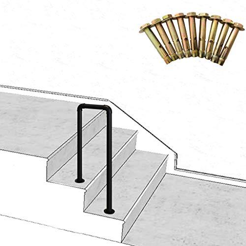 ZzJj - Corrimano a 2 gradini per Interni ed Esterni, ringhiere per Scale a U in Ferro battuto Vintage, con Kit di Montaggio Portico o corrimano per gradini da Giardino, Dimensioni opzionali