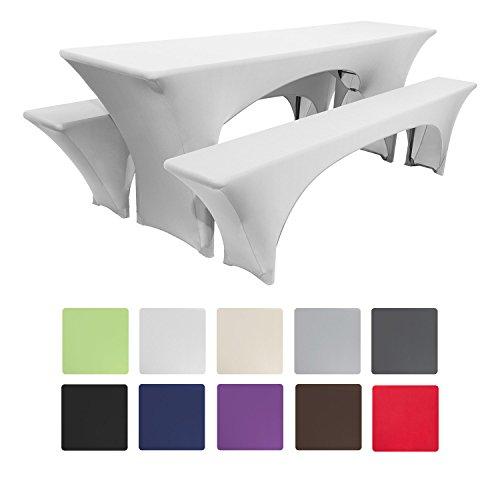 Beautissu Victoria Stretchhusse Biertischhusse 220x70 cm + 2 Bierbank-Hussen 3 TLG Bierzeltgarnitur-Set - Weiß & weitere Farben