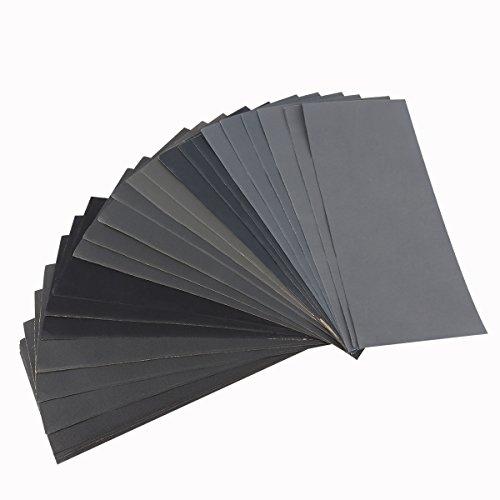 UEETEK: papel de lija seca y al agua, grano 400,600,800,1000,1200,1500,2000,2500,3000; surtido (36piezas).