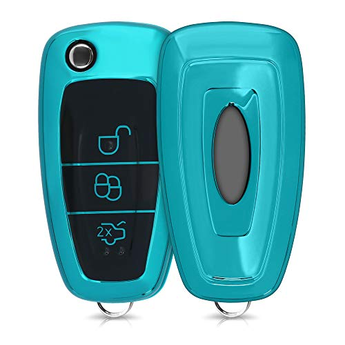kwmobile Autoschlüssel Hülle kompatibel mit Ford 3-Tasten Klapp Autoschlüssel - TPU Schutzhülle Schlüsselhülle Cover in Hochglanz Petrol