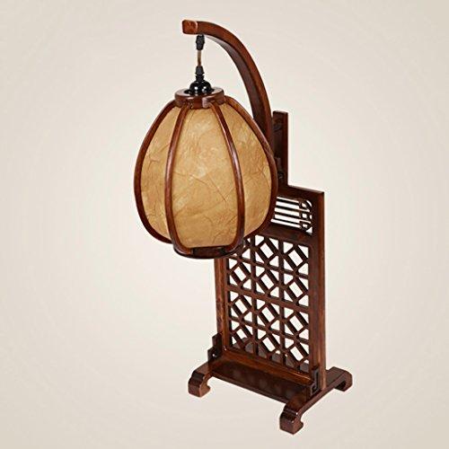 Lying Lampe de table antique rétro code solide sculpture en bois d'art villa salon chambre d'étude lampe de chevet trouver (Couleur : A)