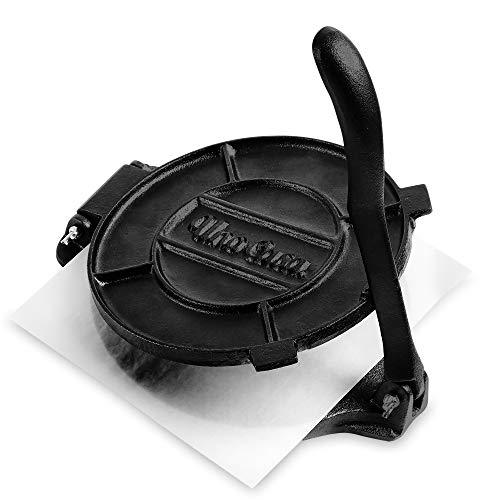 Uno Casa Cast Iron Tortilla Press - 8 Inch, Pre-Seasoned Tortilla Maker with 100 Pcs Parchment Paper - Pataconera for Flour Tortilla, Roti, Tawa or Dosa
