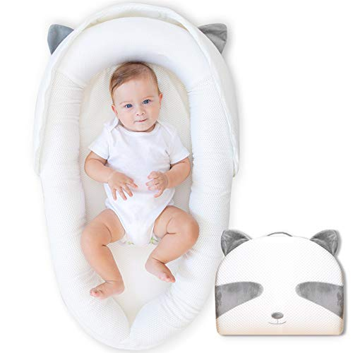 JERORAY-Baby-Lounger-Baby-Nest-Perfect for Newborns Infants Co-Sleeping and Travel,Cute Raccoon Design,Portable Breathable,Washable,Suitable from 0-12 Months,White