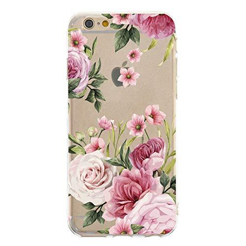 CrazyLemon Hülle für iPhone 6S Plus, Hülle für iPhone 6 Plus, Silikon Dünn Case 3D Kreativ Geprägt Lack Printed Muster Transparent Handyhülle Soft - Pinke Blume