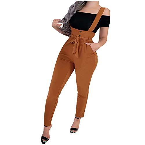 YINGXIONG Damen Cargo Hose Skinny Latzjeans Skinny Fit Boyfriend Stylish Jumpsuit Tasten Overall Cargo Hose Arbeitshose mit Träger Frauen Mode Einfarbige Streetwear mit Gürtel