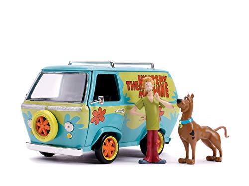 Jada Toys Scooby DOO Mystery Van, Spielzeugauto aus Die-cast, Türen zum Öffnen, Freilauf, inkl. Shaggy + Scooby DOO Figur, Maßstab 1:24