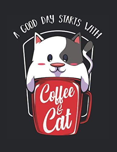 Lustige Süße Katze Kaffee Tasse Cat Kätzchen Katzenbesitzer: A4+ Softcover 120 Beschreibbare Karierte Seiten | 22 X 28 Cm (8,5X11 Zoll)