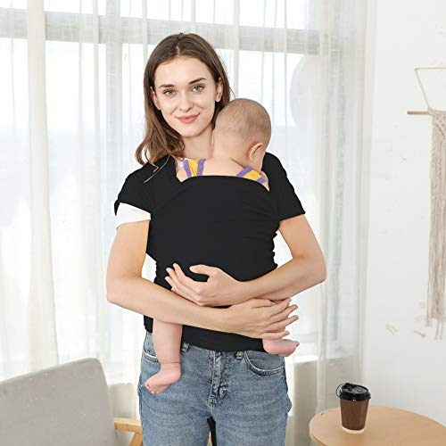 BUDOUMAMA Wrap Baby Carrier, Grey - Original Stretchy Infant Sling, Perfect for Newborn Babies and Children up to 35 lbs (Black)