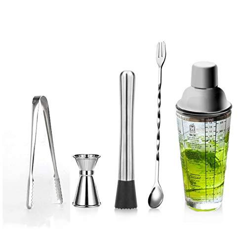 XHDD Bar Set Cocktail Shaker Set,14oz ,Bartender Kit, Measured Mixing Glass, Stainless Steel Top, Best Gift for Beginner
