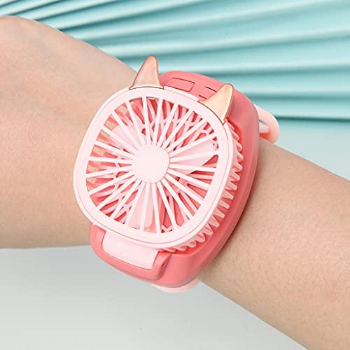 XKMY Mini ventilador de mano ajustable desmontable portátil ventilador de muñeca tercer engranaje velocidad mini reloj USB recargable correa de muñeca para niños al aire libre (color de color rosa)
