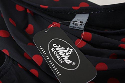 Aloha-Beachwear Polka Dots Vitage Look High Waisted Damen Neckholder Bikini A1061, gepunktet (M / 38 / UK 12, Schwarz / Rot) - 4