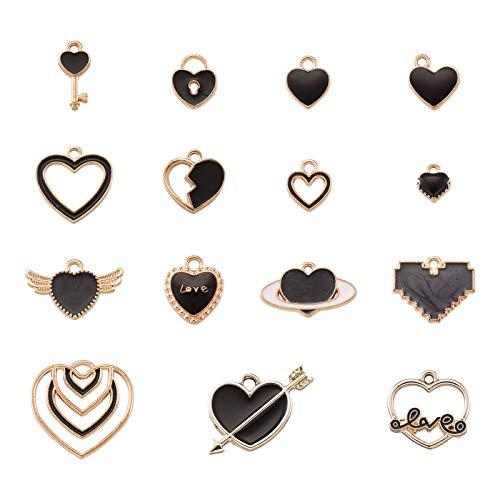 Beadthoven - 60 colgantes de corazón de aleación chapada en oro con forma de corazón para el día de la madre, collar y pendientes de boda