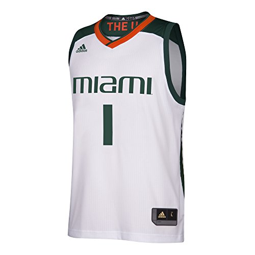 NCAA Miami Hurricanes Adult Men Replica Basketball Jersey, White, X-Large