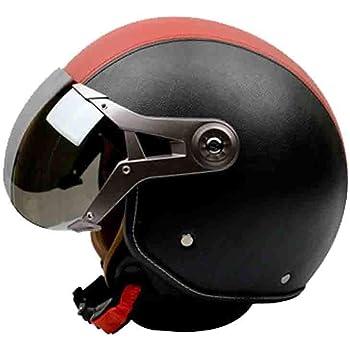 Cascos de cuero de la motocicleta moto Scooter media cara