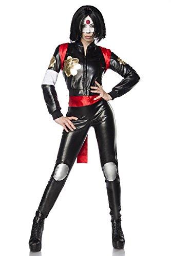 Generique - Disfraz de guerrera Ninja de Samurai, Color Negro y Rojo