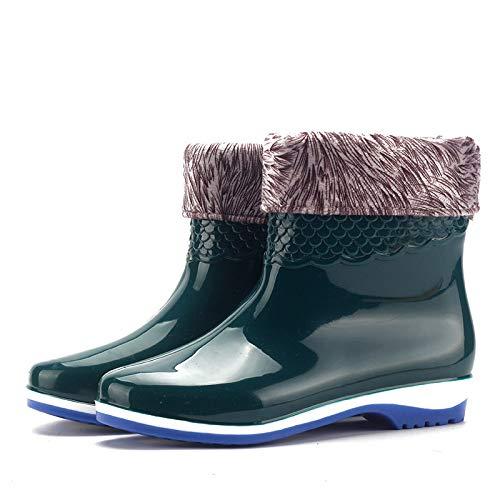 LXYYBFBD Regenlaarzen voor dames, laag om te helpen, S Green Grate Simple Mode, waterschoenen, antislip, waterdicht, retro Wellibob Wild, slijtvaste regenlaarzen voor dames, schoenen, water