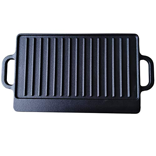 HAWOK Cast Iron Reversible Grill Rectangular Griddle 12.6x8 inch