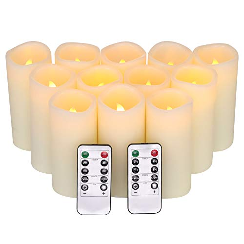 Christmas Decorations Battery Votive Candles, Flickering Flameless Candles 12 Packs (H 5' x D 2.2') Battery Operated Candles with 2 Remotes Timer Control Electric Unscented Pillar Candles Real Wax