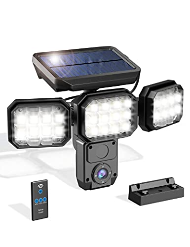 Solar Lights Outdoor Flood Light with Motion Sensor, Outside Security Lights with Remote Control and 3 Modes (White Light, Siren Sounds, and Flashing Warning Light), 120W 2000LM 8500K Wall Light, IP66