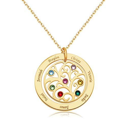 MissChic Namenskette, Stammbaum Halskette, Silber Personalisierte Kette,Kette mit Name, Geschenk für Freuen, Herren, Freundin, Mutter, Schwester