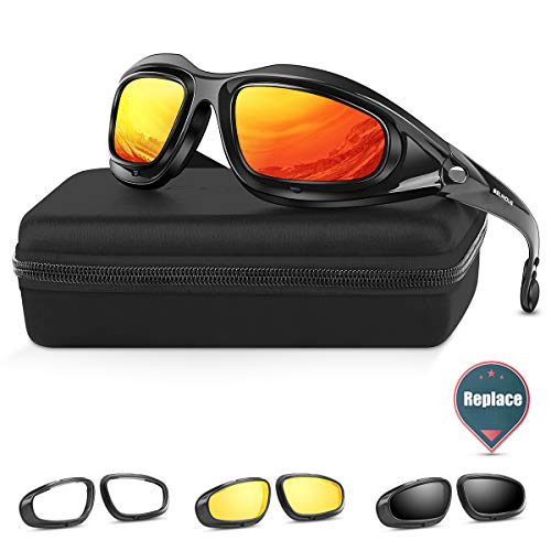 BELINOUS Polarized Motorcycle Riding Glasses, Tactical Glasses w/Black Frame 4 Lens Kit Copper Smoke Clear Yellow for Sports Outdoor Activities Cycling Hiking Climbing Skiing Hunting Fishing Driving