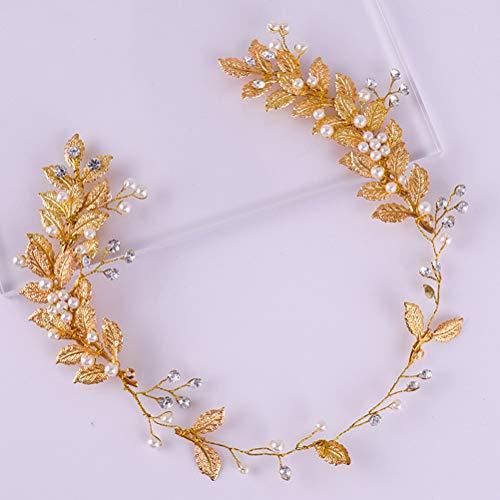 Lurrose 1 diadema de boda hecha a mano con hojas doradas, accesorios...