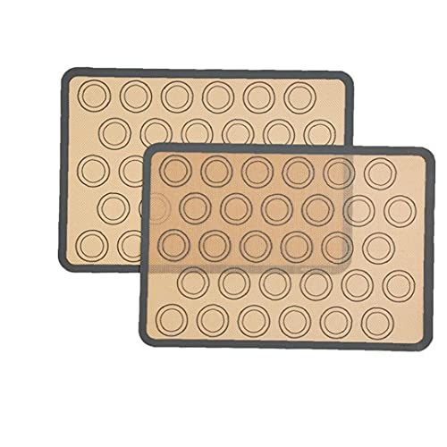 Fivesix Silicona Formas Mats Antiadherente macarrón Bandeja de Horno a Prueba de Calor de cocción Mat para Pasteles Pizza Pan 2 Pack, Accesorios de Cocina