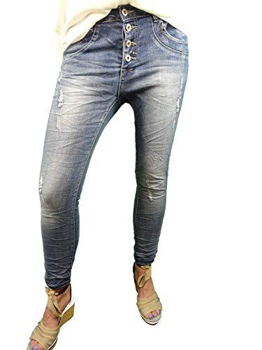 Place du Jour dames stretch jeans vintage used ripped denim open knoopsluiting